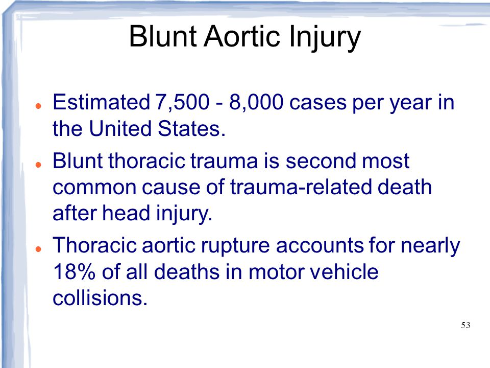 Blunt Aortic Injury Estimated 7,500 - 8,000 cases per year in the United States.