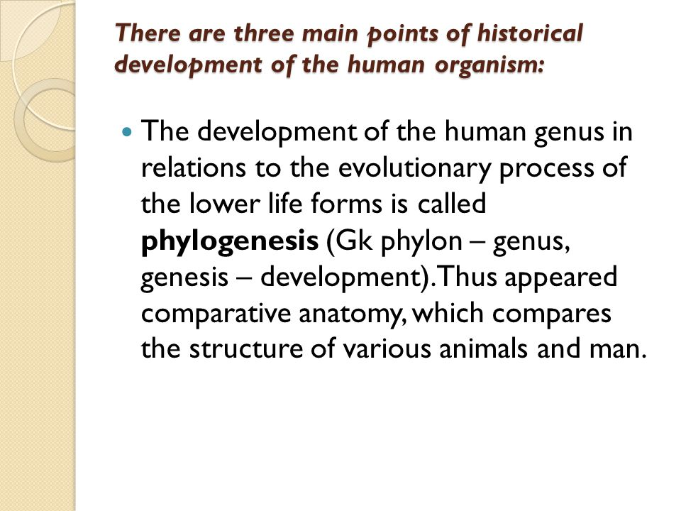 There are three main points of historical development of the human organism: