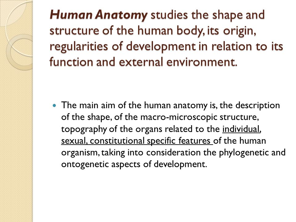 Human Anatomy studies the shape and structure of the human body, its origin, regularities of development in relation to its function and external environment.
