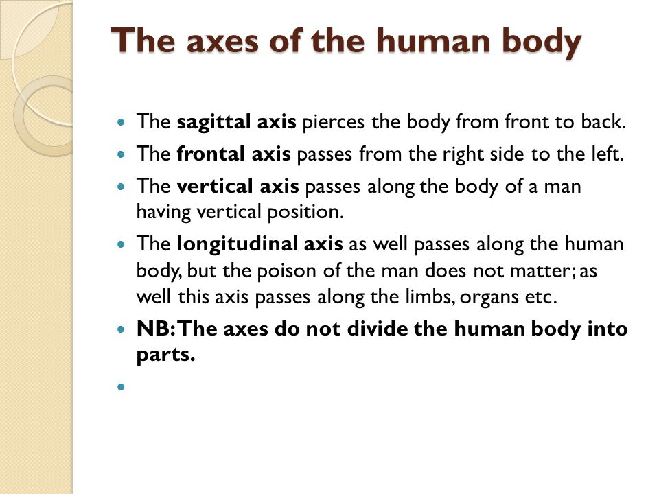 The axes of the human body
