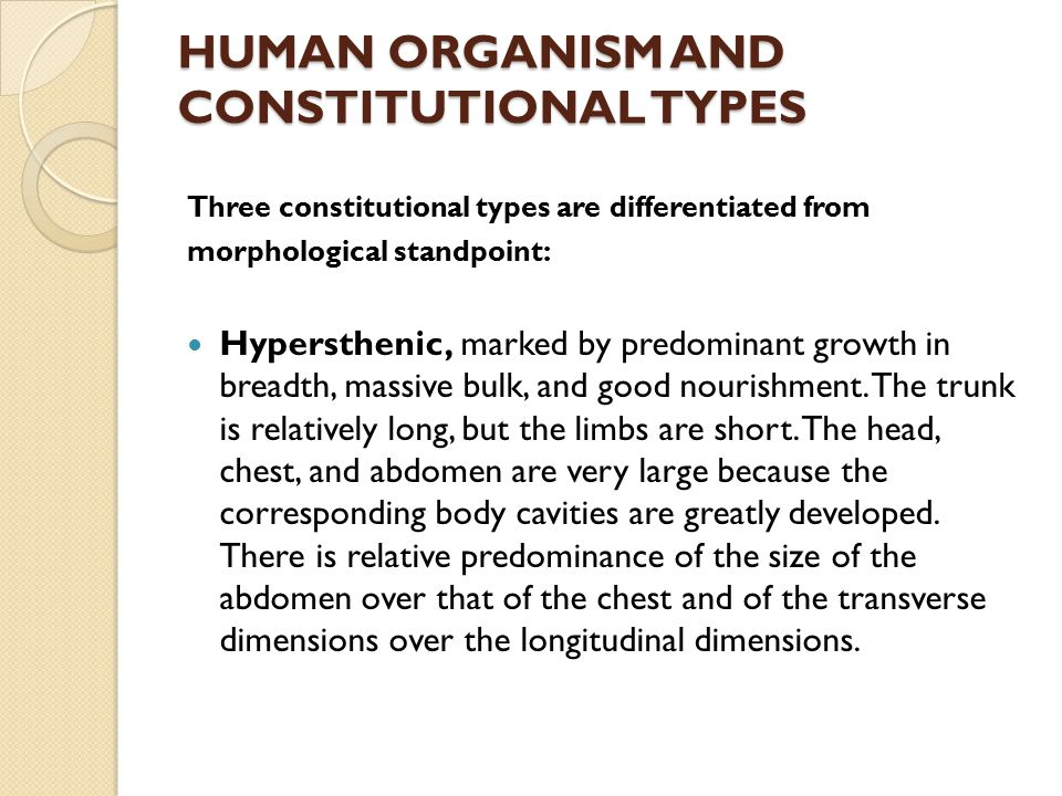 HUMAN ORGANISM AND CONSTITUTIONAL TYPES
