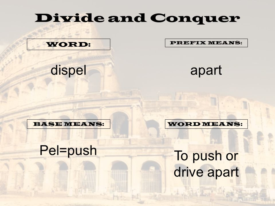dispel apart Pel=push To push or drive apart Divide and Conquer WORD: