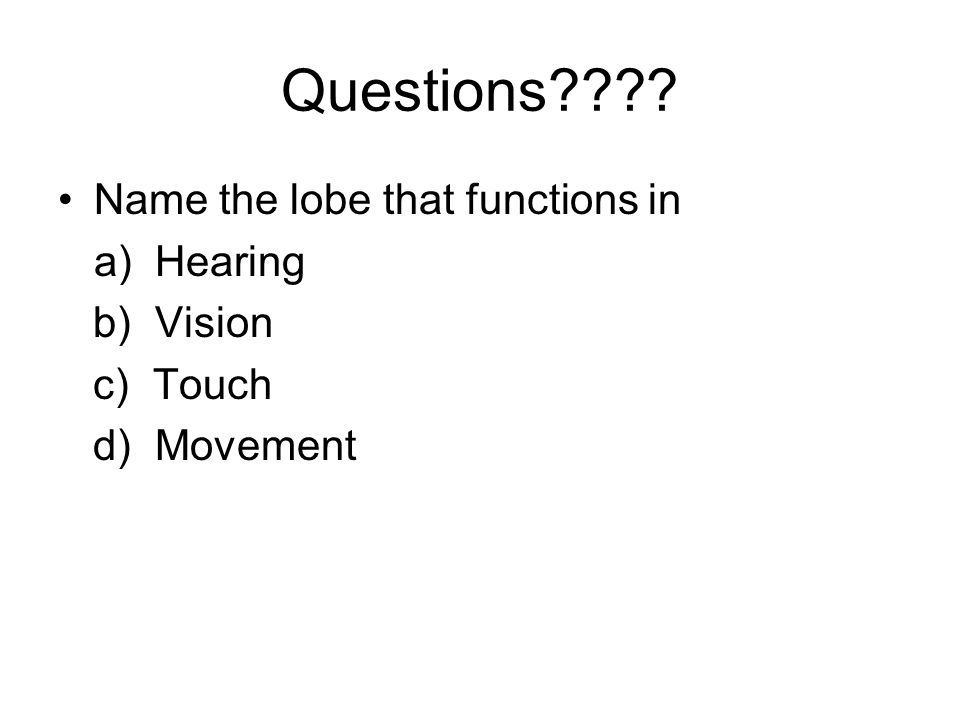Questions Name the lobe that functions in a) Hearing b) Vision