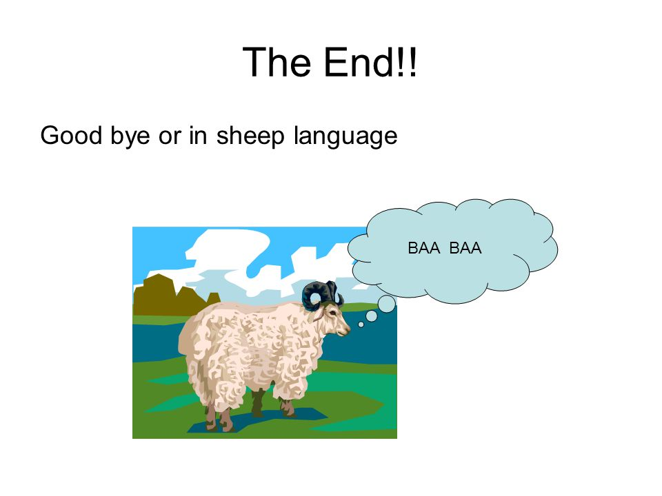 The End!! Good bye or in sheep language BAA BAA