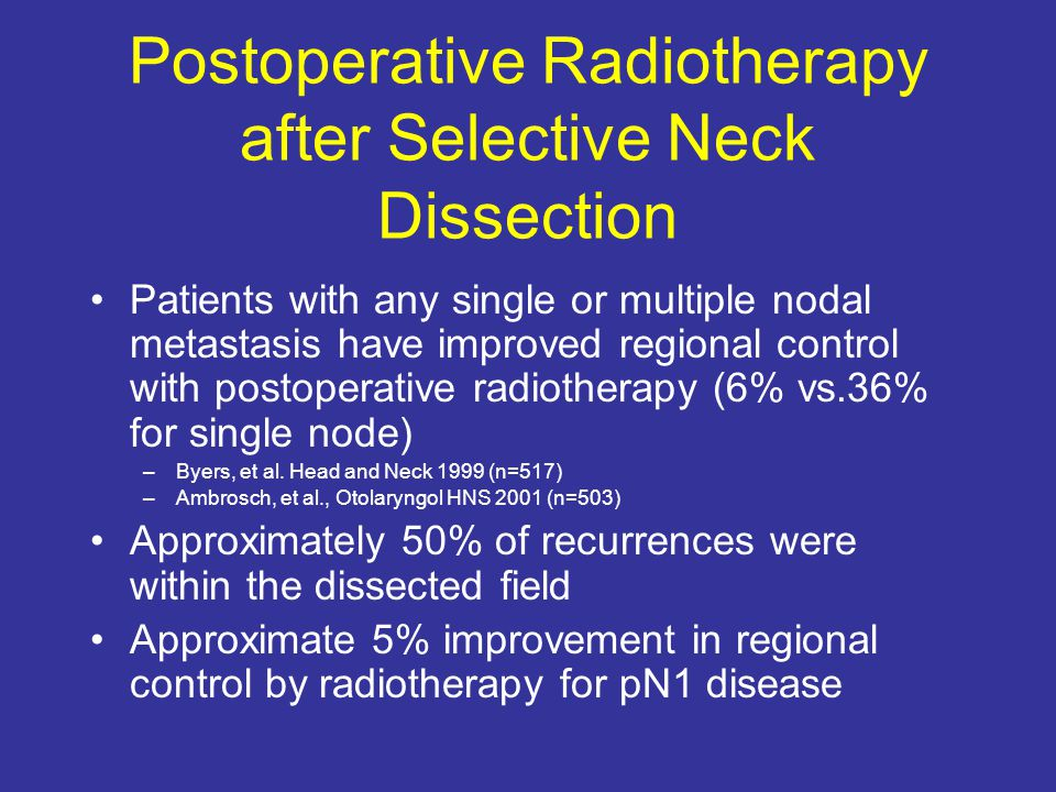 Postoperative Radiotherapy after Selective Neck Dissection
