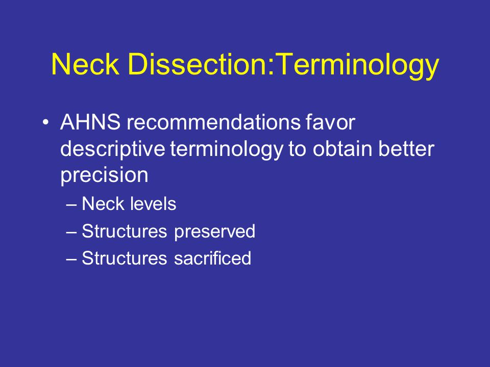 Neck Dissection:Terminology