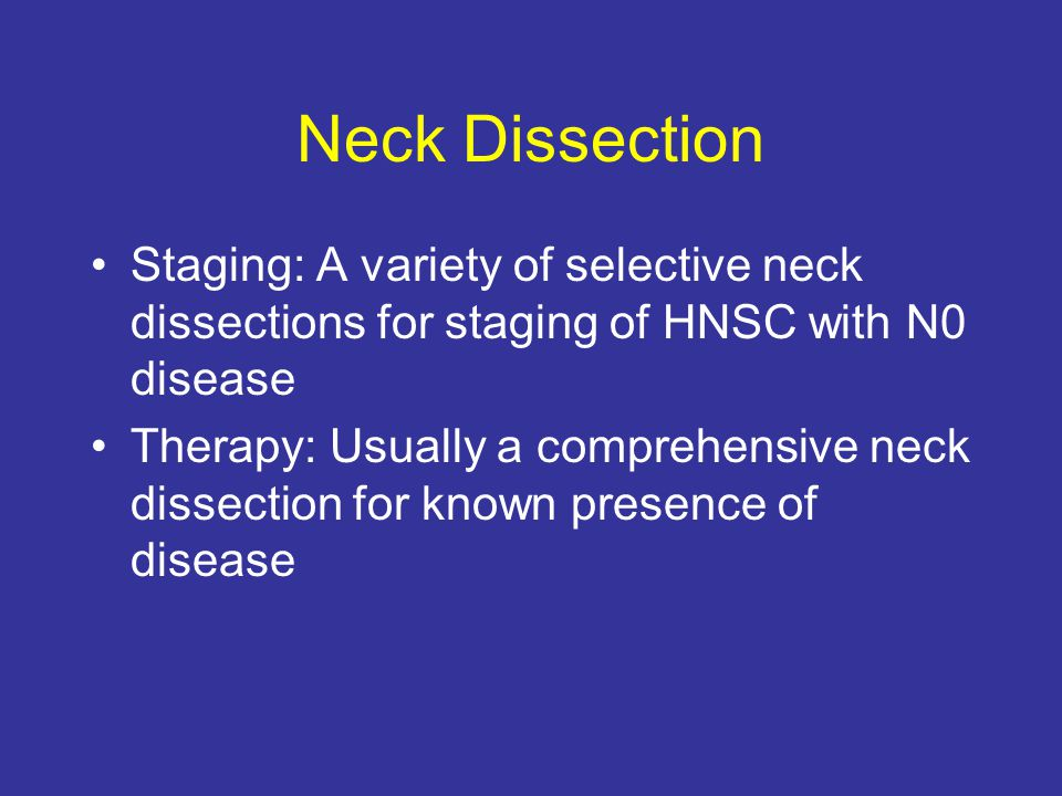 Neck Dissection Staging: A variety of selective neck dissections for staging of HNSC with N0 disease.
