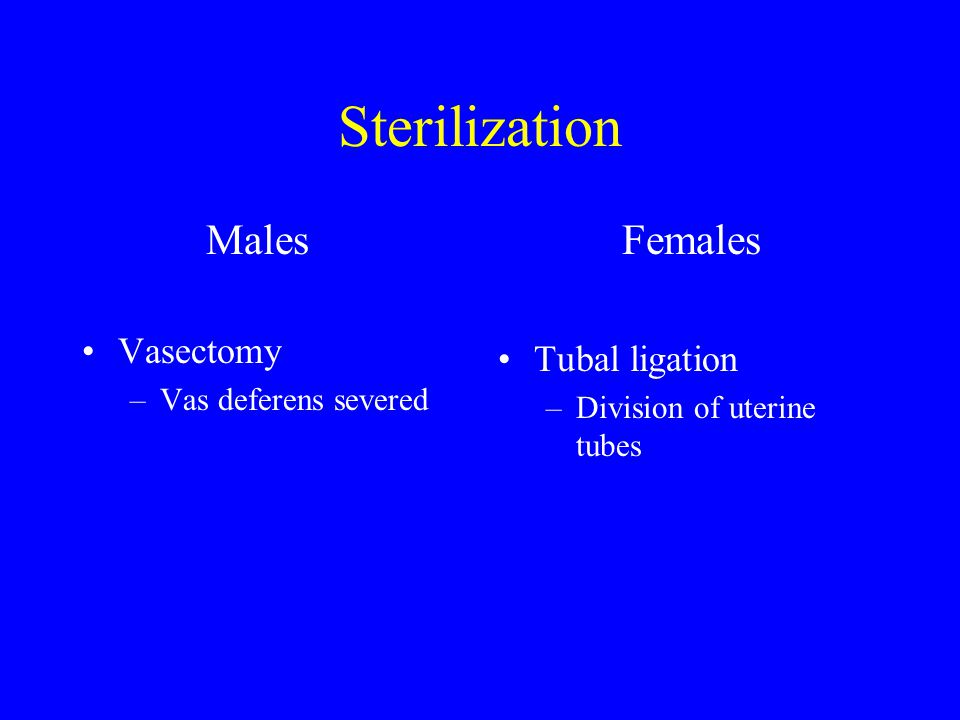 Sterilization Males Vasectomy Females Tubal ligation