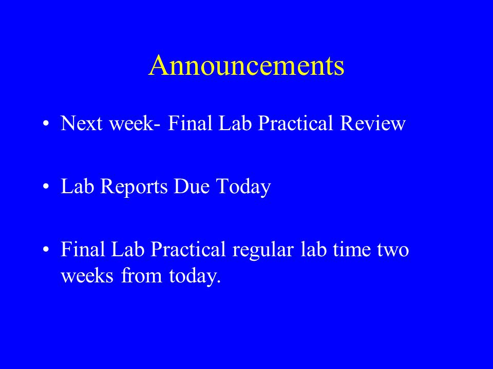 Announcements Next week- Final Lab Practical Review