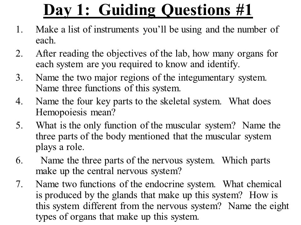 Day 1: Guiding Questions #1