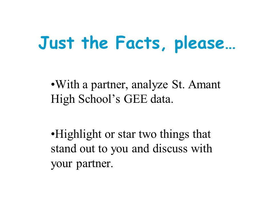 Just the Facts, please… With a partner, analyze St. Amant High School's GEE data.