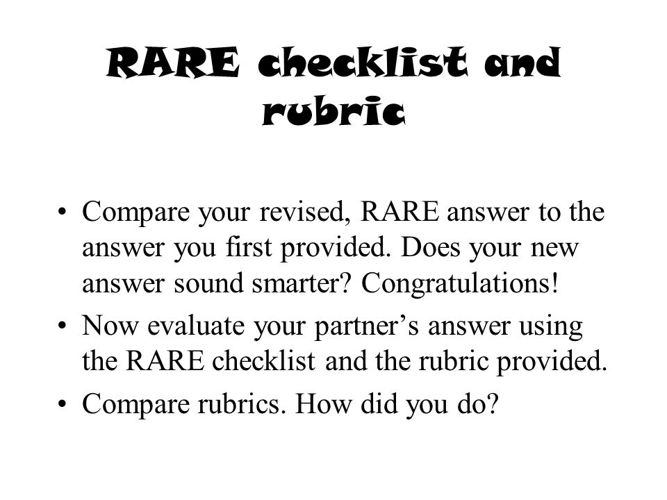 RARE checklist and rubric