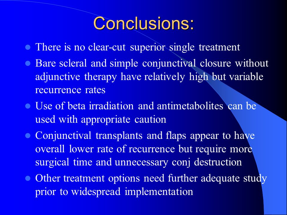 Conclusions: There is no clear-cut superior single treatment