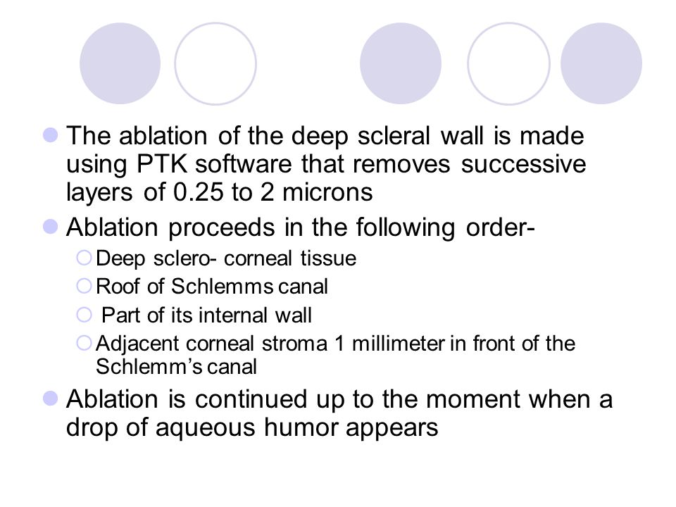 Ablation proceeds in the following order-