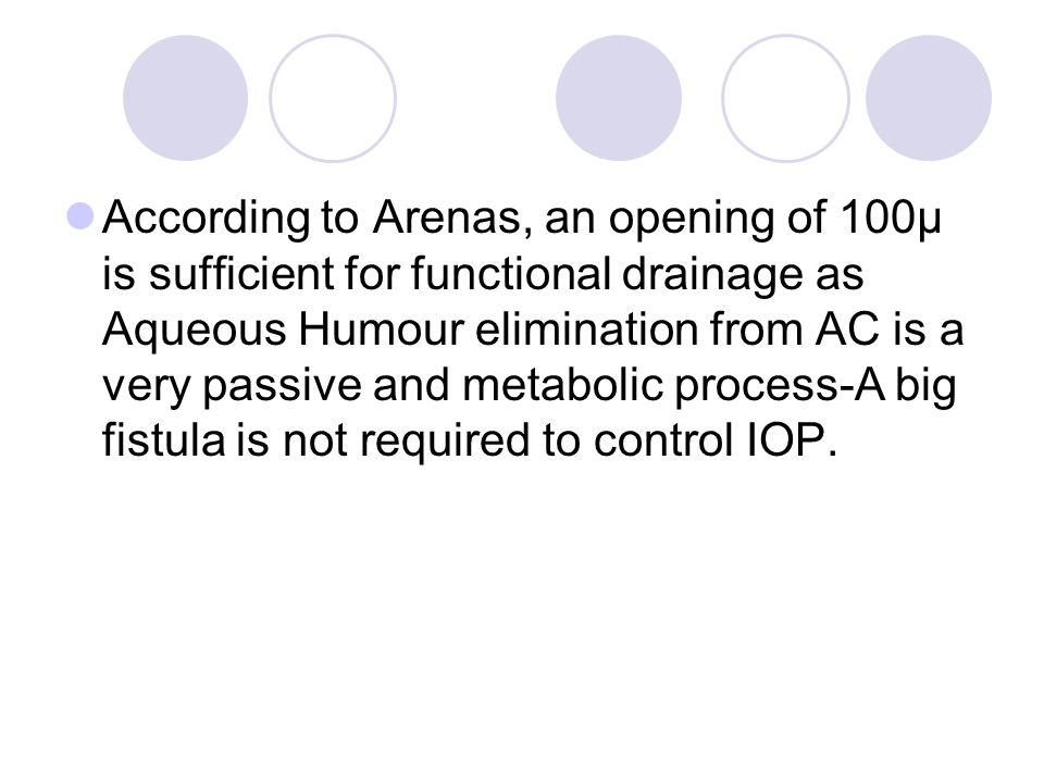 According to Arenas, an opening of 100µ is sufficient for functional drainage as Aqueous Humour elimination from AC is a very passive and metabolic process-A big fistula is not required to control IOP.