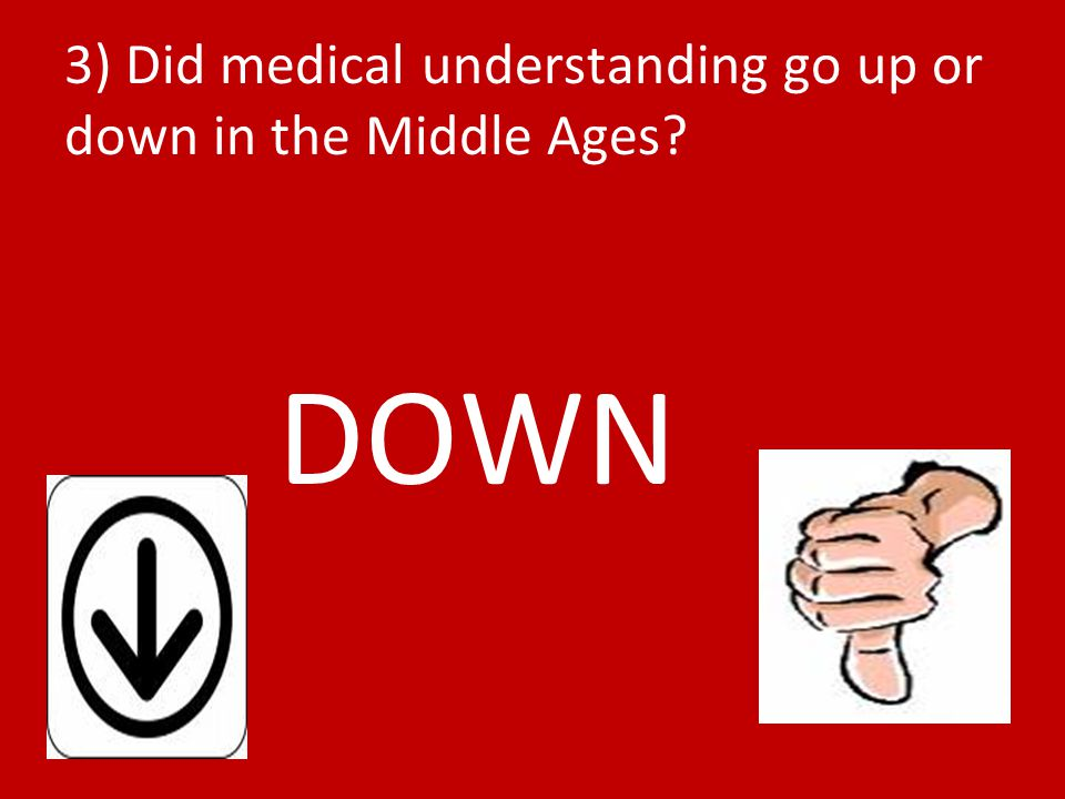3) Did medical understanding go up or down in the Middle Ages