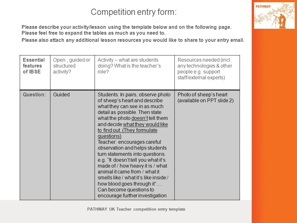 Competition entry form:
