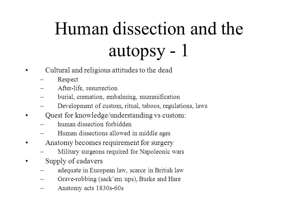 Human dissection and the autopsy - 1