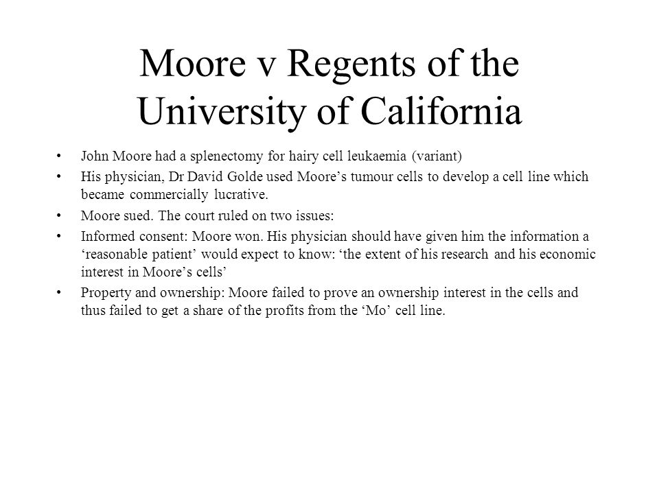 Moore v Regents of the University of California