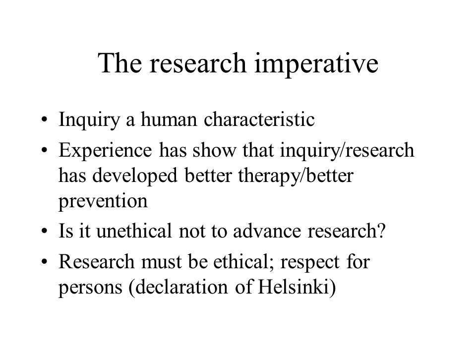 The research imperative