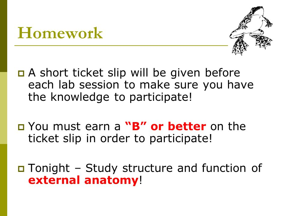 Homework A short ticket slip will be given before each lab session to make sure you have the knowledge to participate!