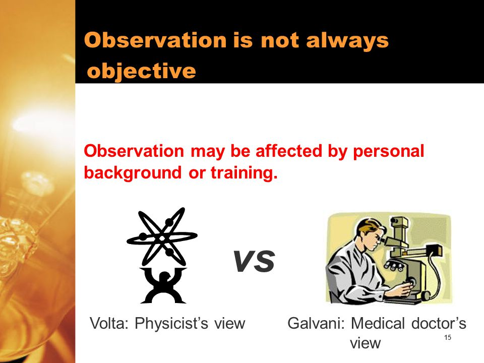 vs objective Observation is not always