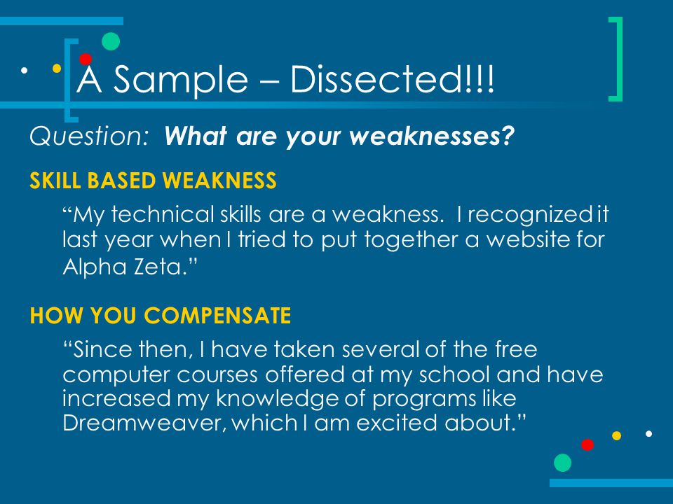 A Sample – Dissected!!! Question: What are your weaknesses
