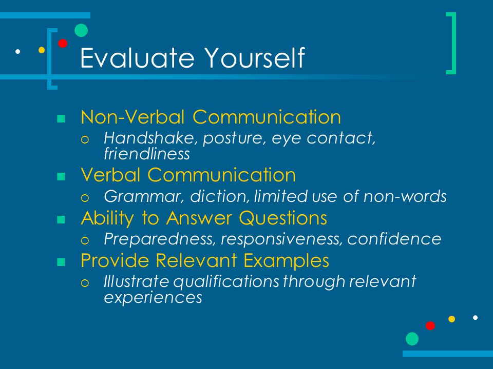 Evaluate Yourself Non-Verbal Communication Verbal Communication
