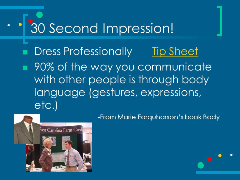 30 Second Impression! Dress Professionally Tip Sheet