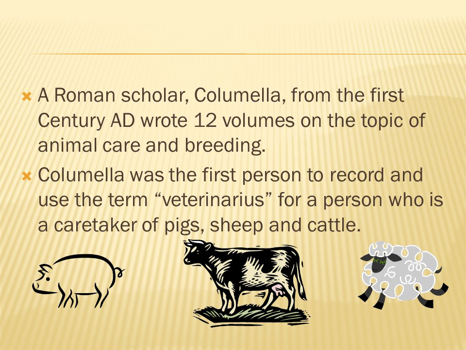 A Roman scholar, Columella, from the first Century AD wrote 12 volumes on the topic of animal care and breeding.