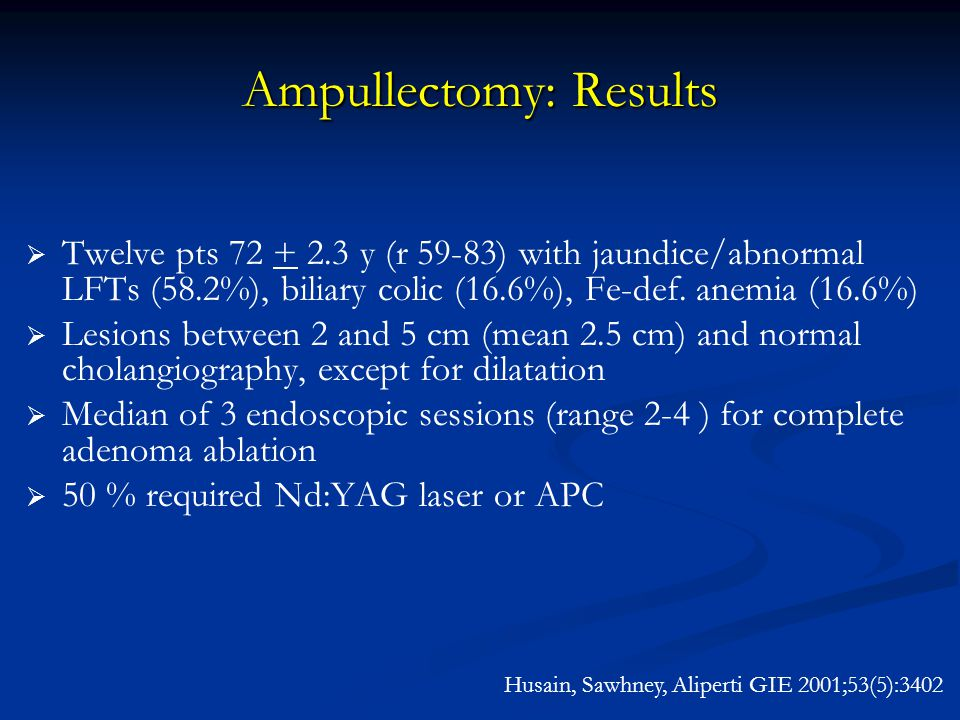 Ampullectomy: Results