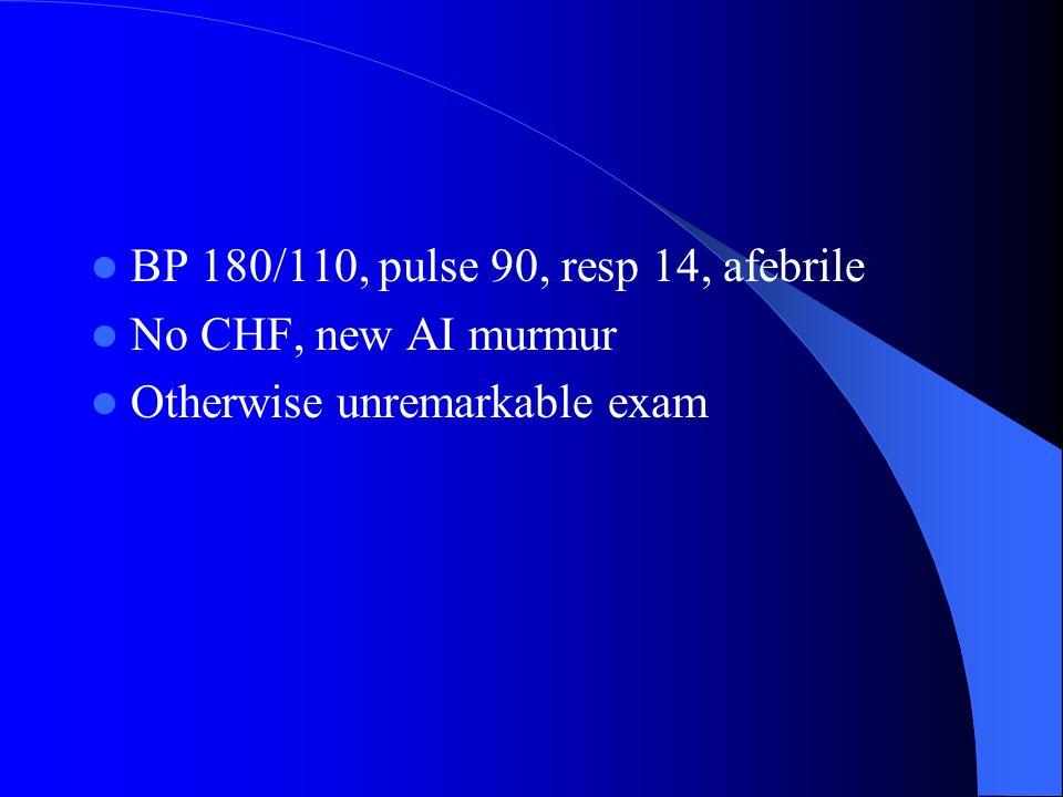 BP 180/110, pulse 90, resp 14, afebrile
