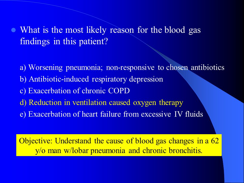 What is the most likely reason for the blood gas findings in this patient