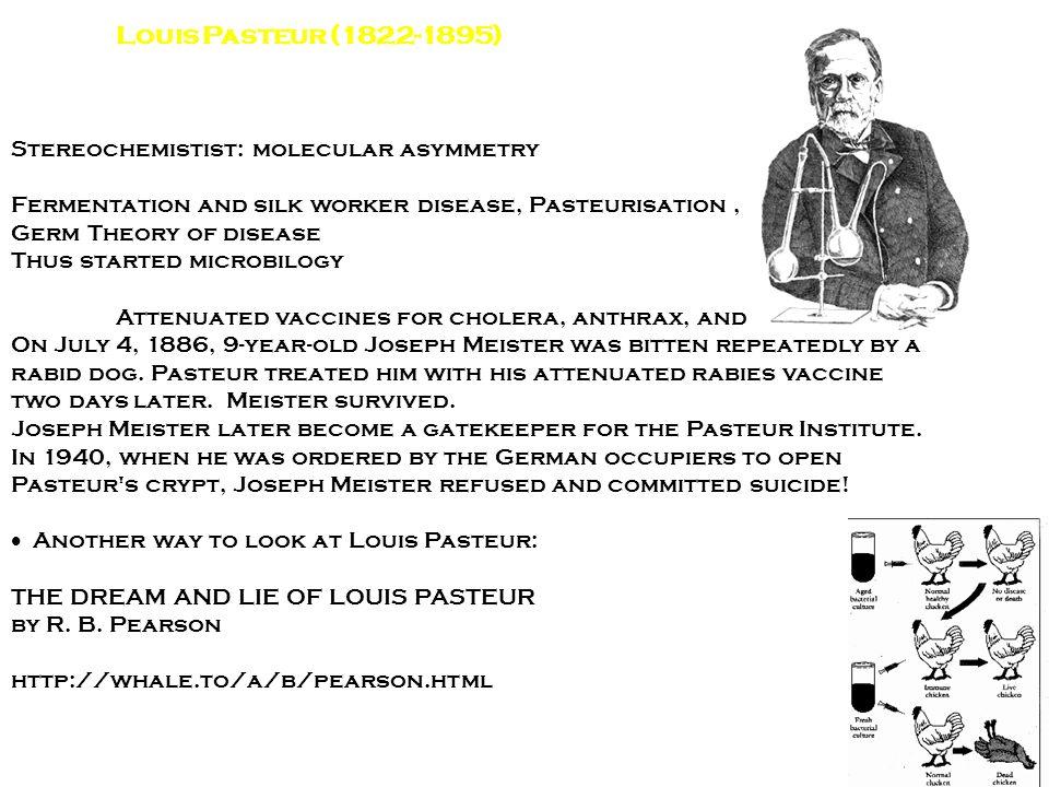 Louis Pasteur (1822-1895) Stereochemistist: molecular asymmetry