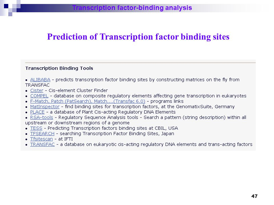 Prediction of Transcription factor binding sites