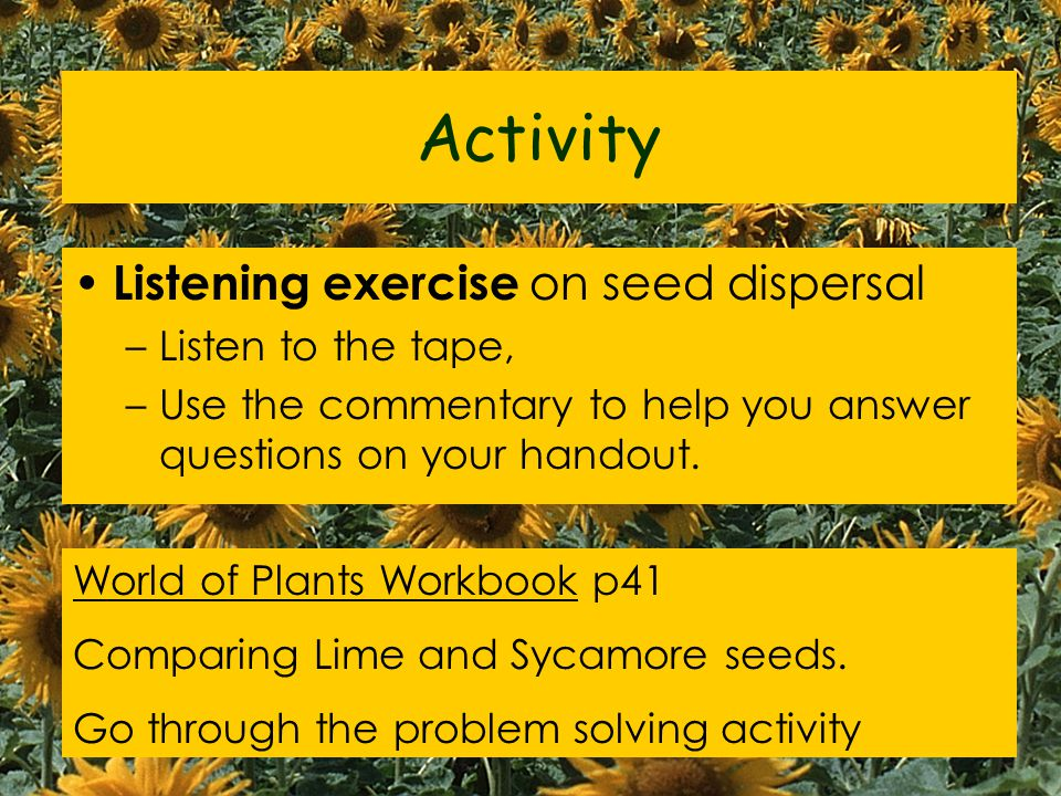Activity Listening exercise on seed dispersal Listen to the tape,