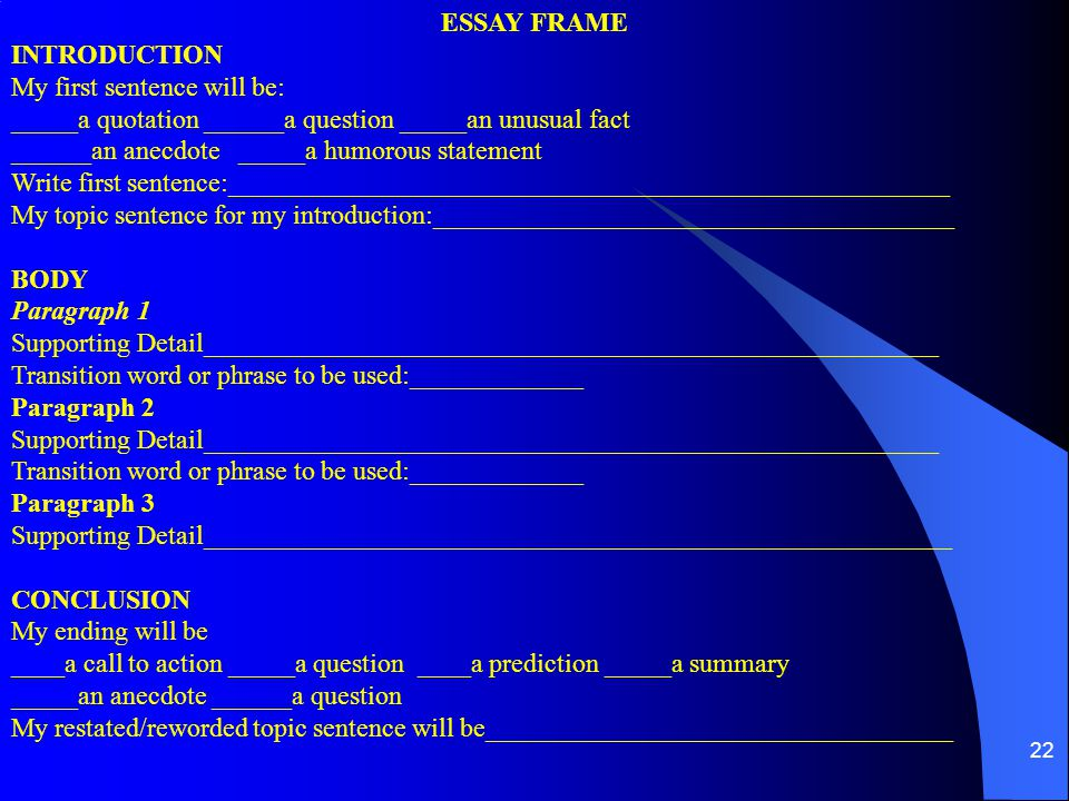 ESSAY FRAME INTRODUCTION. My first sentence will be: _____a quotation ______a question _____an unusual fact.