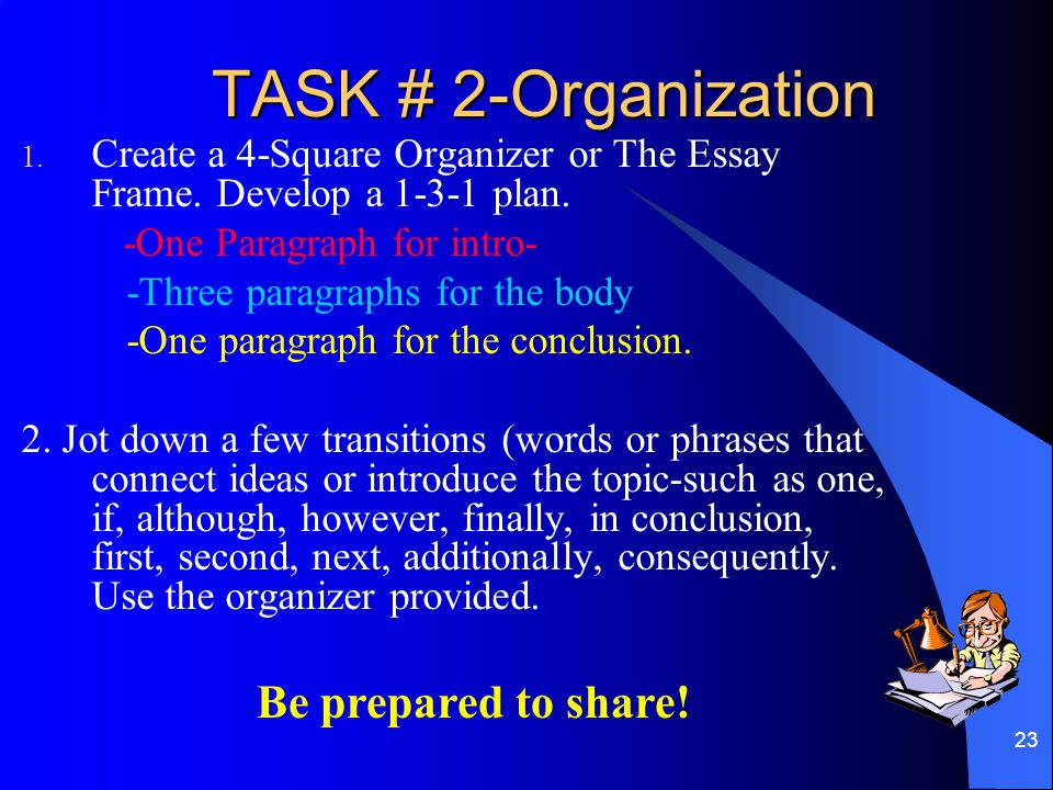 TASK # 2-Organization Be prepared to share!