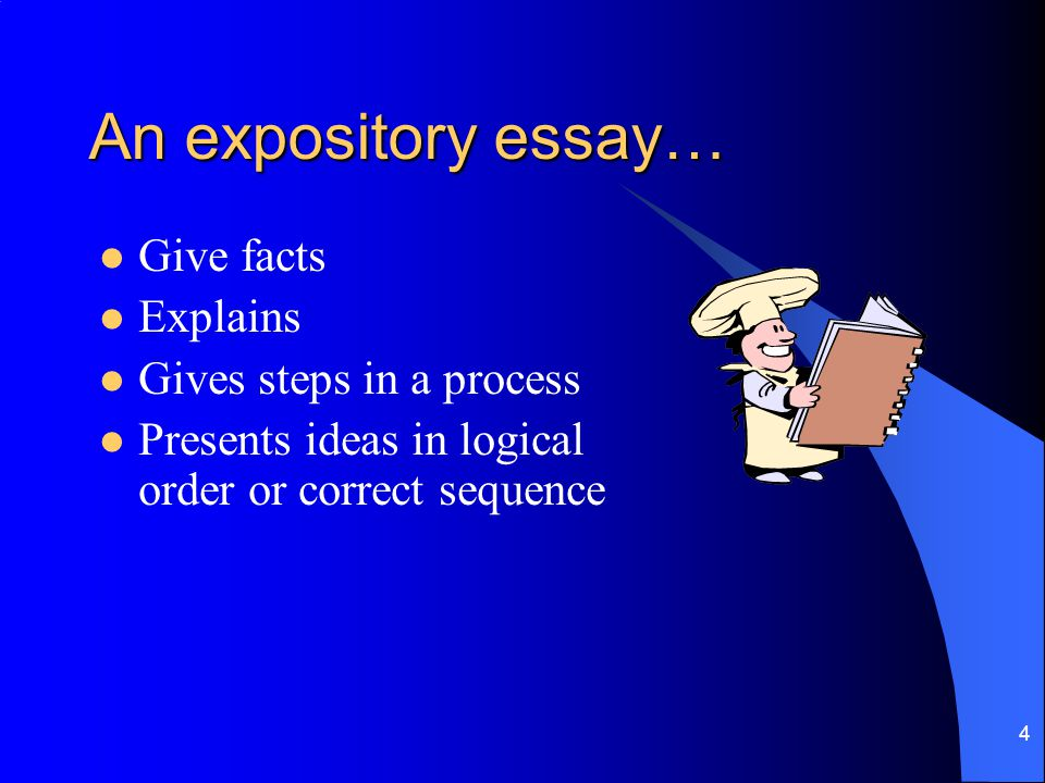 An expository essay… Give facts Explains Gives steps in a process