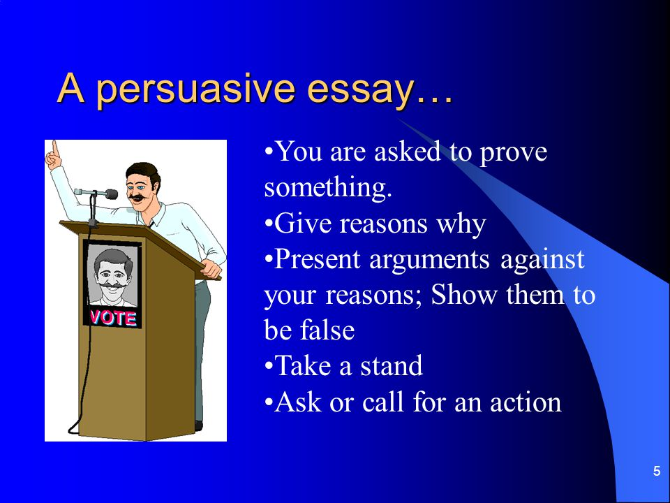 A persuasive essay… You are asked to prove something. Give reasons why