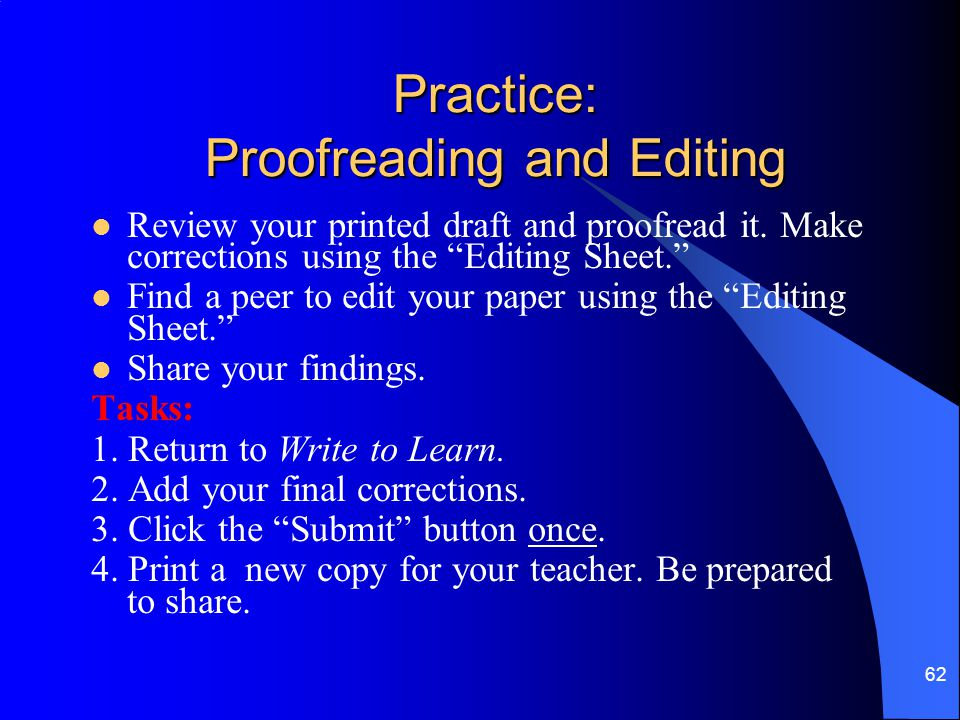 Practice: Proofreading and Editing