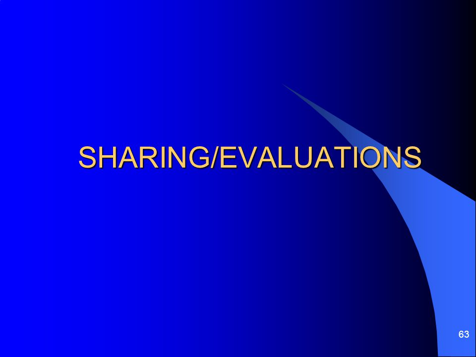 SHARING/EVALUATIONS