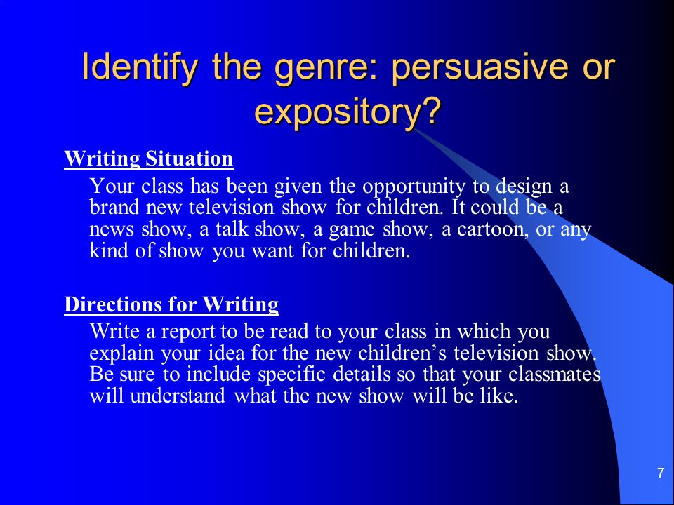 Identify the genre: persuasive or expository