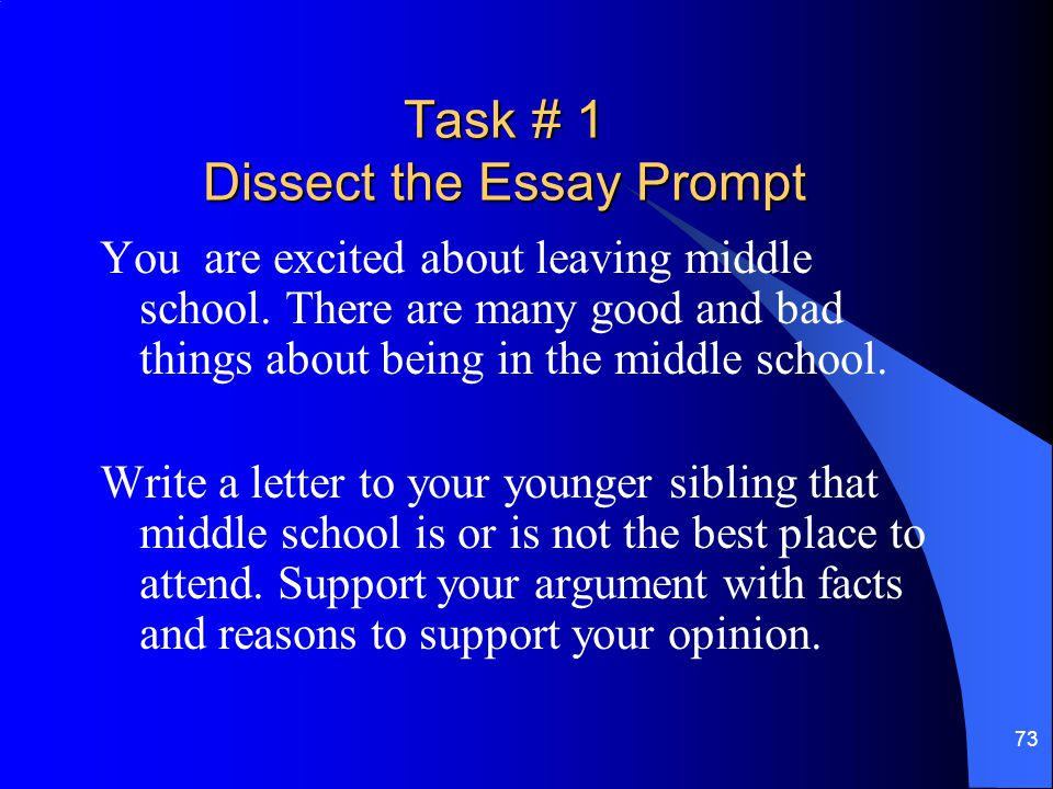 Task # 1 Dissect the Essay Prompt
