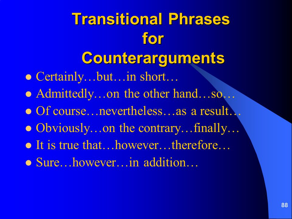 Transitional Phrases for Counterarguments