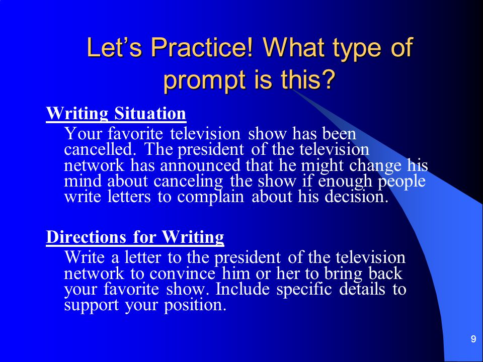 Let's Practice! What type of prompt is this