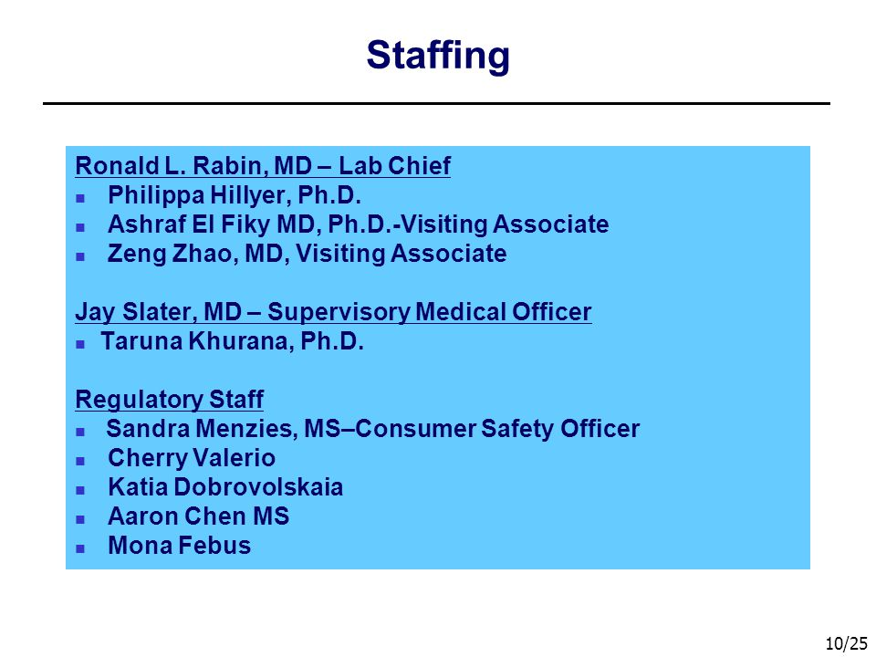 Staffing Ronald L. Rabin, MD – Lab Chief Philippa Hillyer, Ph.D.