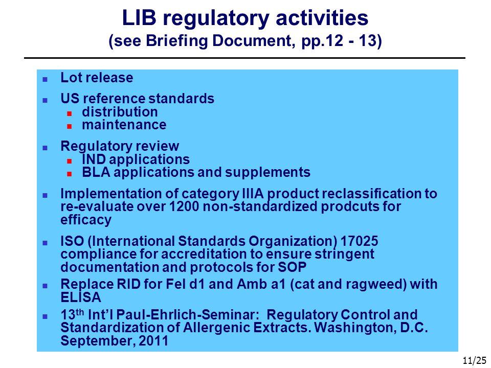 LIB regulatory activities (see Briefing Document, pp.12 - 13)