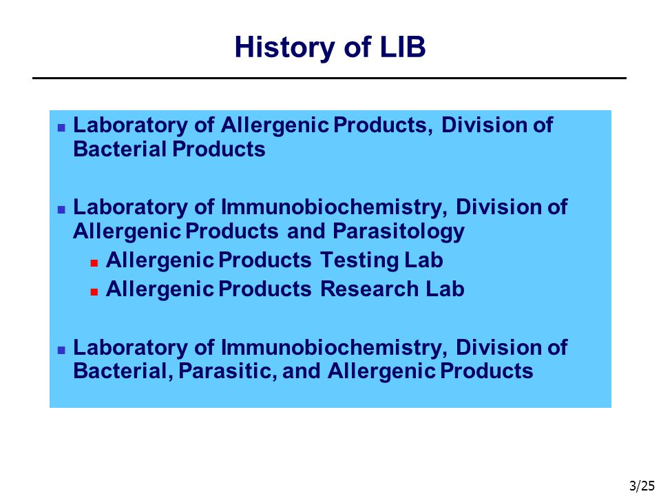 History of LIB Laboratory of Allergenic Products, Division of Bacterial Products.