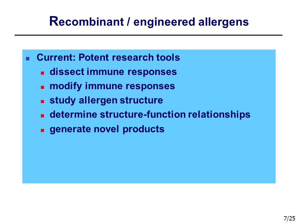 Recombinant / engineered allergens